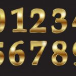 Golden Luxury Numbers (PNG Transparent)