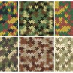 Puzzle Camouflage Pattern Background (JPG)