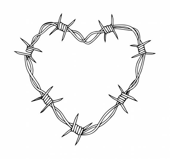Heart Barbed Wire PNG Transparent SVG Vector
