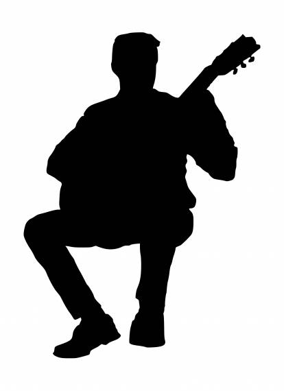 Sitting Guitar Player Silhouette PNG Transparent SVG Vector