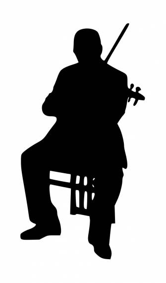 Sitting Violinist Silhouette PNG Transparent SVG Vector