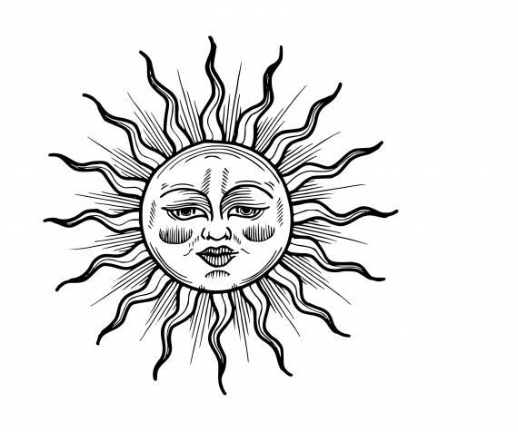 Sun Face Tattoo PNG Transparent SVG Vector