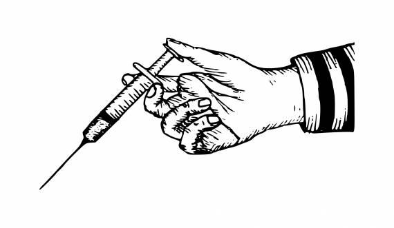 Syringe In Hand For Injection PNG Transparent SVG Vector