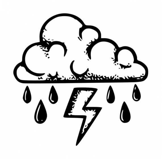 Cloud Rain Lightning Tattoo PNG Transparent SVG Vector