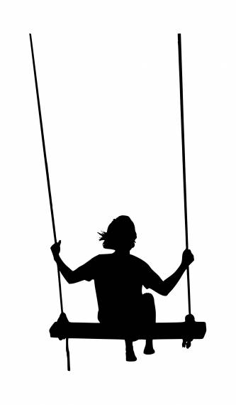 Girl On Swing Silhouette PNG Transparent SVG Vector