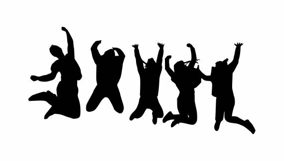 Group People Jumping Silhouette PNG Transparent SVG Vector