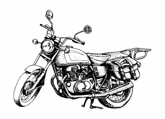 Motorcycle Dotted Drawing PNG Transparent SVG Vector