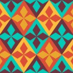 Retro Geometric Rhombus Pattern Background PNG