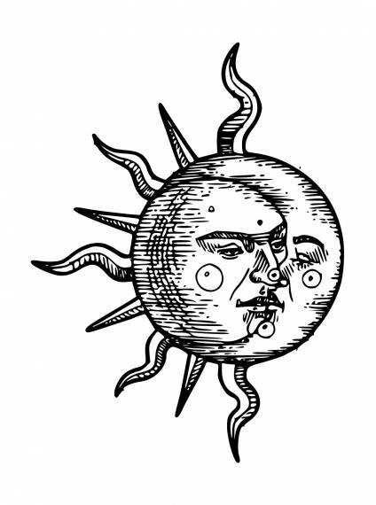 Sun Moon Face Tattoo PNG Transparent SVG Vector