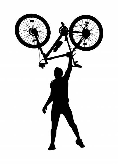 Man Lifting Bicycle Above His Head Silhouette PNG Transparent SVG Vector